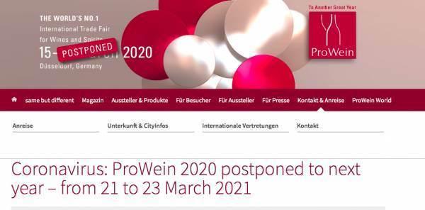 ProWein slitta all'anno prossimo (dal 21 al 23 marzo)